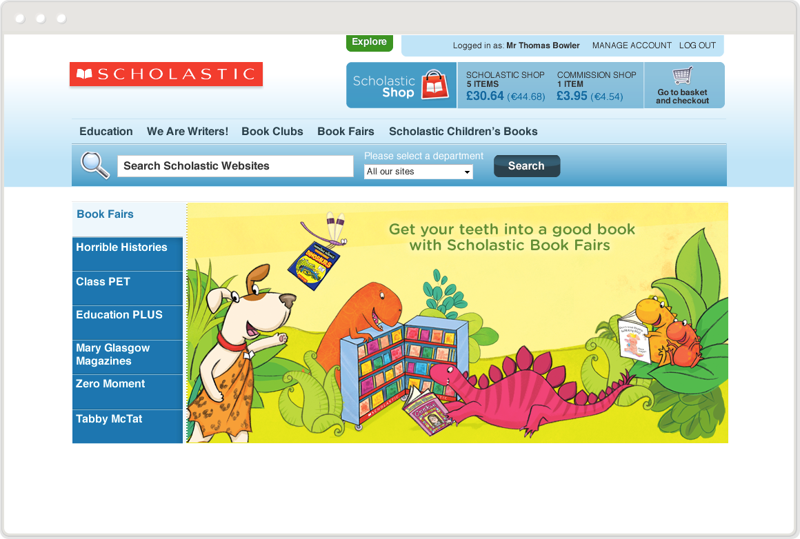 Desktop view of User experience design manager for large e-commerce and resources platform at Scholastic